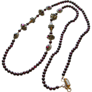 "SALE Exotic Garnet and Bali Bead 32"" Necklace"