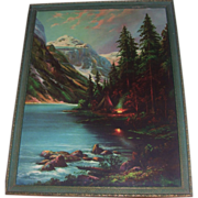Vibrant Lithograph William M Thompson Lake Louise Campfire