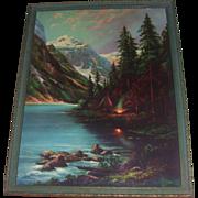 Vibrant Lithograph William M Thompson Lake Louise Campfire