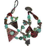 SALE Southwestern Design Arts & Crafts Turquoise Agate Jasper Nickel Charm Fetish Bracelet