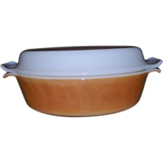 Anchor Hocking Fire King Copper Tint Milk Glass Covered Casserole