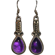 Natural Amethyst Gemstone and Sterling Silver Drop Earrings