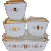 Pyrex 8 Piece Refrigerator Dishes Town & Country 1960's