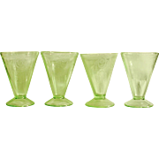 Depression Green Rose Cameo Belmont Glass Tumblers 1931