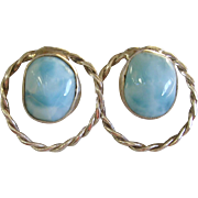 SALE Beautiful Larimar Sterling Silver Pierced Earrings