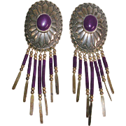 Vintage Sterling Silver Signed Navajo Conch and Sugilite Dangle Earrings