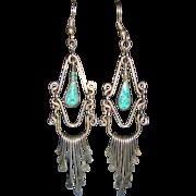 1960's Vintage Sterling Silver Native American Hand Made Chandelier Earrings