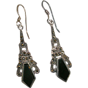 Art Deco Sterling Silver Black Onyx and Marcasite Parisian Theme Earrings