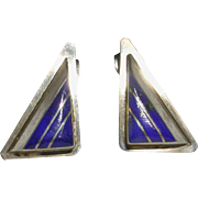 Signed Zuni Sterling Silver And Lapis Inlay Earrings