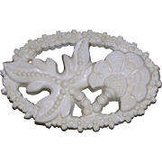 Mid Century White Celluloid Thistle Flower Pin Brooch
