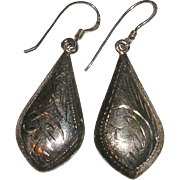 Sterling Silver Chased Teardrop Dangle Earrings