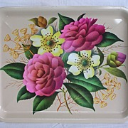 Floral Design Tin Tray Made in England