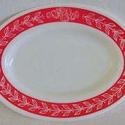 Anchor Hocking Fire King Red & White Restaurant Ware Serving Platter