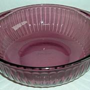 Vintage Pyrex Cranberry Glass 2 Qt. Ribbed Casserole