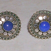 Sterling Silver Disc Earrings with Lapis Blue Colored Stone