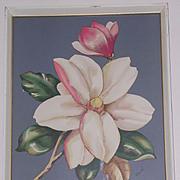 1940's Framed Airbrush Art Print-Camellia-One of 2