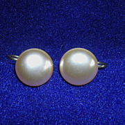 Vintage Mabe Faux Pearl Screw Back Earrings