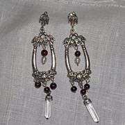 Vintage Sterling Silver Garnet Pearl and Crystal Dangle Earrings