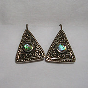 Handmade Sterling Silver and Abalone Pierced Earrings