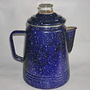 Vintage Cobalt Blue Graniteware Campfire Percolator