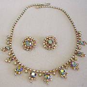 SALE Vintage Pastel AB Rhinestone Necklace and Earrings