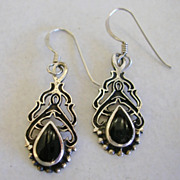 Vintage Art Nouveau Design Onyx Earrings