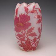 Art Nouveau French Legras Cameo Gilt Glass Vase c1900