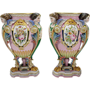 Fabulous Jean Gille French Bisque Porcelain Ornate Victorian Urn Vases Pair