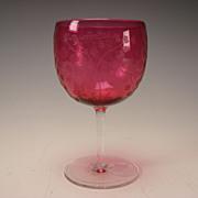Antique Webb Cranberry Glass Wine Stem with Cameo Cut Butterflies Design c1910