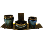 SALE Loetz Iridescent Feathered Art Nouveau Glass Smoking Set 4 PC