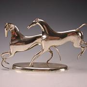 Art Deco Horses Playing Chrome Sculpture Karl Hagenauer Vienna Austria c1930