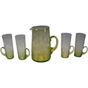 Antique Boston Sandwich Vaseline Etched Lemonade Glass Pitcher and 4 Horn Tumblers