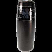 Antique Czech Bohemian Silver Overlay Deep Amethyst 4 Leaf Clover Black Satin Glass Vase