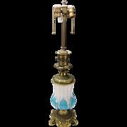 Antique Bohemian Moser Blue Opaline on Alabaster Elegant Gilt Cut Glass Table Lamp c1880