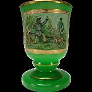 Bohemian Antique Green Opaline Glass Fine Hand Painted Portrait Beaker Vase