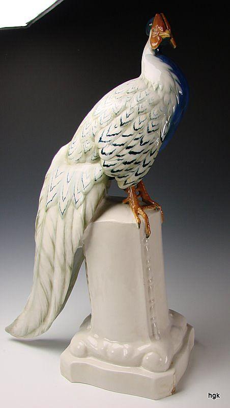 "Antique Schwarzburger Werkstatten Porcelain Peacock 29"" Hand Painted Sculpture"