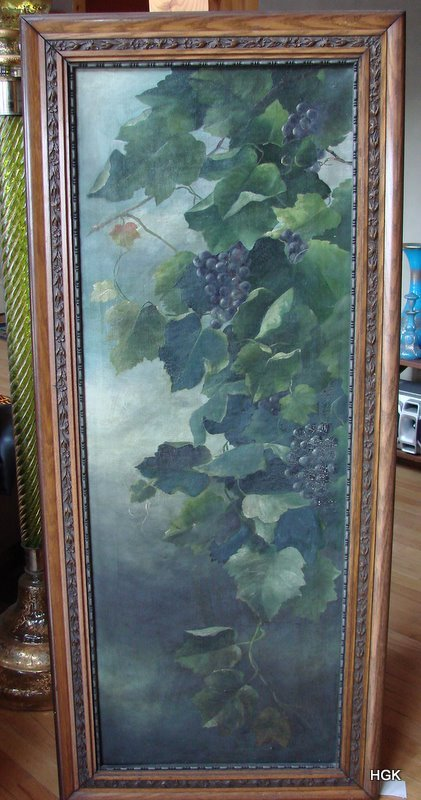 Great Art Nouveau Oil Painting Grapes and Leaves Panel