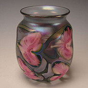 John Lotton Iridescent Pink Flora Art Glass Vase Signed