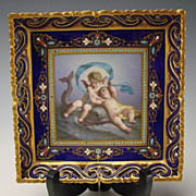 SOLD Antique Limoges French Cherub Hand Painted Jeweled Porcelain Plate Tray