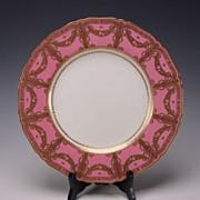 SALE Art Nouveau Royal Worcester Porcelain China Rose Gilt Cabinet Dinner Plate s1186