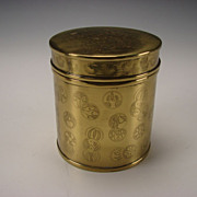 Antique Japanese Solid Brass Round Tobacco Jar Box Humidor