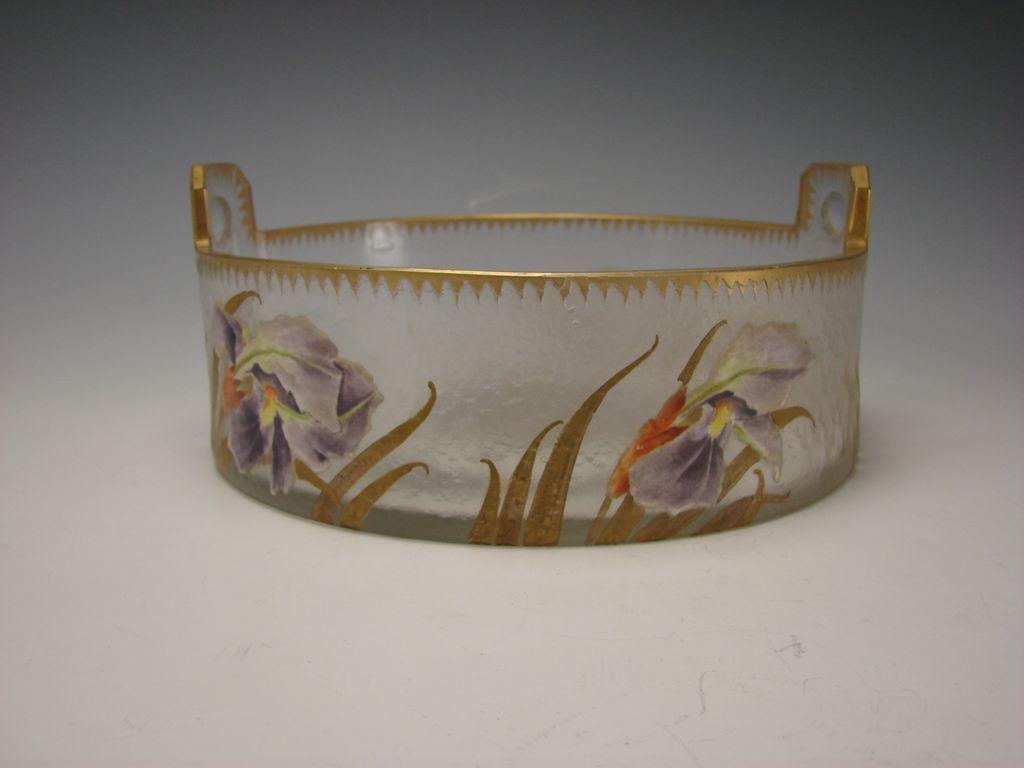 BIG Antique French Mont Joye Legras Enamel Painted Glass Basket Bowl Vase