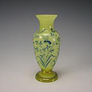 Antique French Galle Enamel Citron Vaseline Glass Vase