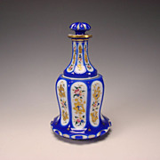 Antique Bohemian Moser Cased Persian Enamel Glass Decanter Bottle