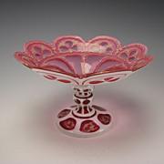 SALE Antique Bohemian Moser Cranberry Cased Enamel Cut Back Gothic Compote Vase