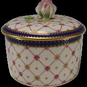 SOLD Antique Vintage Ginori Rose Bud Porcelain China Lidded Powder Jewelry Box Jar
