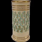 SALE RARE Christopher Dresser Minton China Reticulated Porcelain Hand Gilt Vase