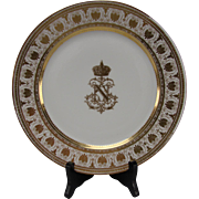 Antique Sevres Porcelain Napoleon III Table Service Armorial Plate Signed