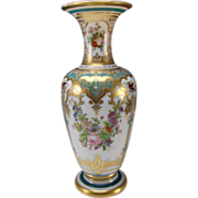 Stellar Baccarat Jean Francois Robert Hand Painted Opaline Glass Vase c1855