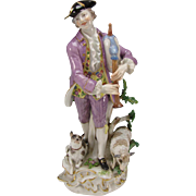 Antique Man Playing Flute with Sheep/Dog Meissen Porcelain Figurine Grouping